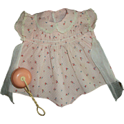 "Lovely 20"" Dy-Dee Doll Pink Smocked Romper and Celluloid Rattle"