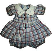 Vintage Effanbee Patsy/Patricia Movie Anne Shirley Plaid Dress and Onsie/Bloomers - Red Tag Sale Item