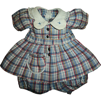 Vintage Effanbee Patsy/Patricia Movie Anne Shirley Plaid Dress and Onsie/Bloomers