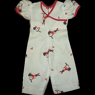 Cute Vintage Factory Rabbit Print Jumpsuit