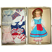 "Vintage 15"" Vinyl Ward's Issued Ideal SHIRLEY TEMPLE & Original Wardrobe Case & Original Clothes"