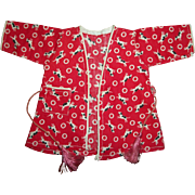 Adorable 1930s Factory Doll Dog Print Doll Robe