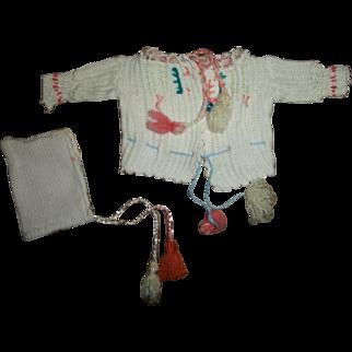 Cute Vintage Cotton Knit Sweater With Bonnet