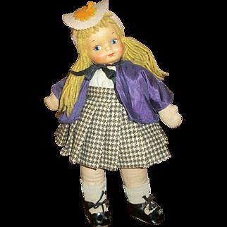 Vintage Georgene Novelty British Girl Cloth Doll
