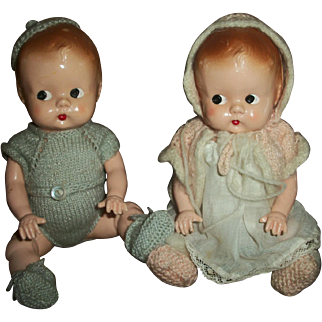 Pair of Adorable Bent Leg Brother and Sister Baby Dolls