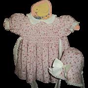Vintage Factory Smocked Dress & Bonnet Set For Composition Doll