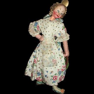 Vintage Klumpe Lady Doll Carrying Basket of Fruit