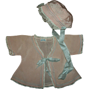 Vintage Tagged 1930s SILK Bonnet and Kimono For Dy-Dee and Other Baby Dolls