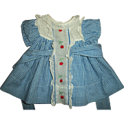 Vintage 1930s Ideal Original Shirley Temple Blue & White  Cherry Dress