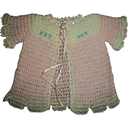 Beautiful 1930s Wool Sweater With Tiny Blue Flowers For Dy-Dee & Others