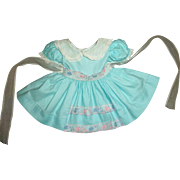 Vintage Ideal Toni Doll Dress~Turquoise With Organdy Trim