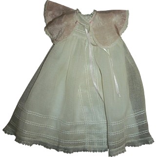 Vintage Ideal Baby Doll 3 Piece Set~Organdy Gown~Slip~Silk Bed Jacket~Original To Bonny Braids