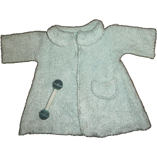 Vintage Soft Plush Blue Eiderdown Robe And Rattle For Effanbee Dy-Dee Doll