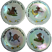 4 Vintage White Iridescent Hand Painted Nursery Rhyme Children/Doll Plates