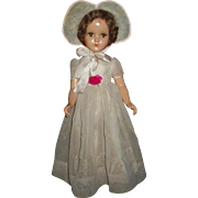 "Original Arranbee 21"" Nancy Lee Wearing Flocked Formal With Bonnet"