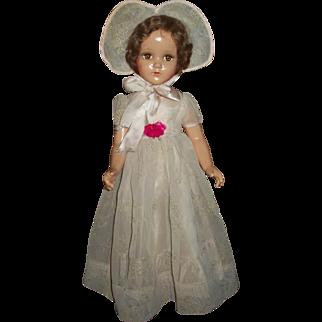 """Original Arranbee 21"""" Nancy Lee Wearing Flocked Formal With Bonnet"""