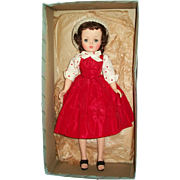 Gorgeous Brunette Madame Alexander Cissy All Original In Red Taffeta Day Dress With Box!