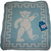 Rare Blue Effanbee Dy-Dee Doll Esmond Teddy Blanket With ZBT Baby/Doll Powder