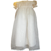 Gorgeous Vintage Smocked~Embroidered~Applique~Organdy Gown For Baby or Doll