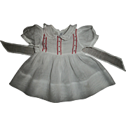 Pretty Red & White Factory Dress for Dy-Dee or Tiny Tears Dolls
