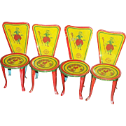 Set of Four Tin~ J Chein~ Little Bo Peep Doll Chairs