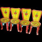 Set of Four Tin~ J Chein~ Little Bo Peep Doll Chairs