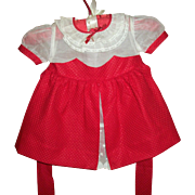 Mint!  Vintage Toddler's Red Pique and Organdy Valentine Dress