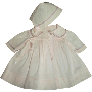 Factory Pink  With Blue and Pink Trim  Coat and Bonnet Set
