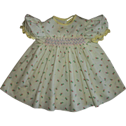 Cute Factory Smocked Rosebud Print Baby Doll Dress