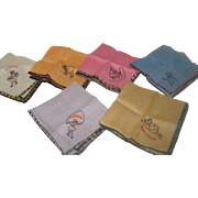 Set of 6 Vintage Children's Hankies - Days of Week