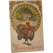 Thanksgiving Postcard  Building House at  Plymouth