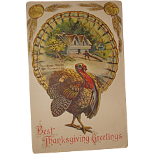 Thanksgiving Postcard  Building House at  Plymouth - Red Tag Sale Item