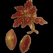 Vintage Trifari Enamel Leaf Pin with Matching Earrings