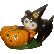Vintage Lefton Halloween Pumpkin & Black Cat