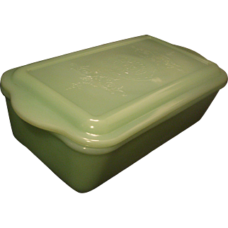 Fire King Jadite Glass Loaf Pan with Philbe Lid