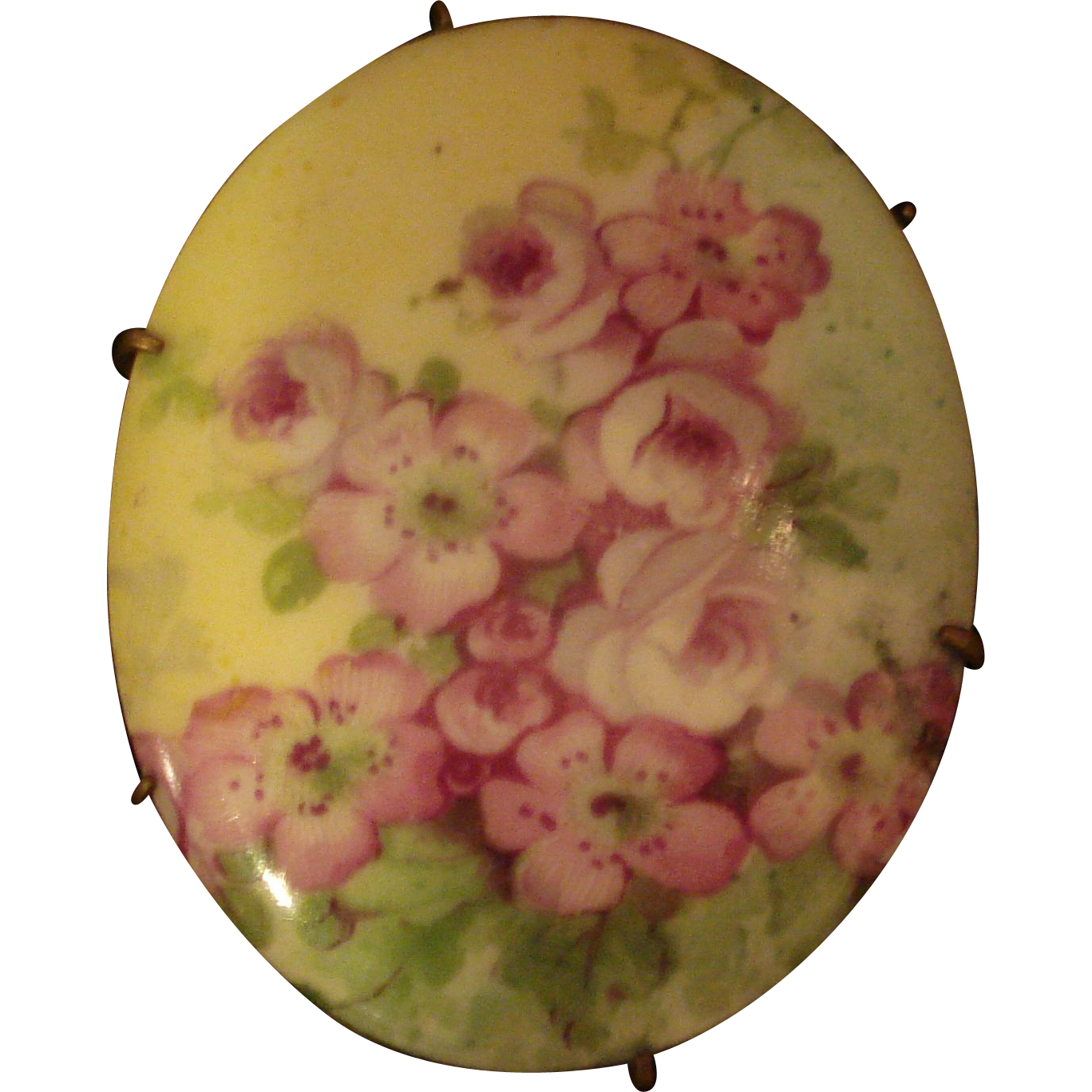 Victorian Painted Porcelain Pin