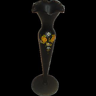 Tiffin Hand Painted Black Satin Glass Vase