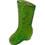 Green Glass Shoe Boot Kanawha Glass Company