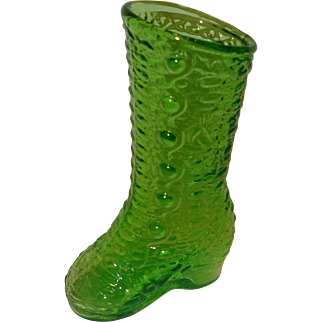 Green Glass Shoe Boot Kanawha Glass Company