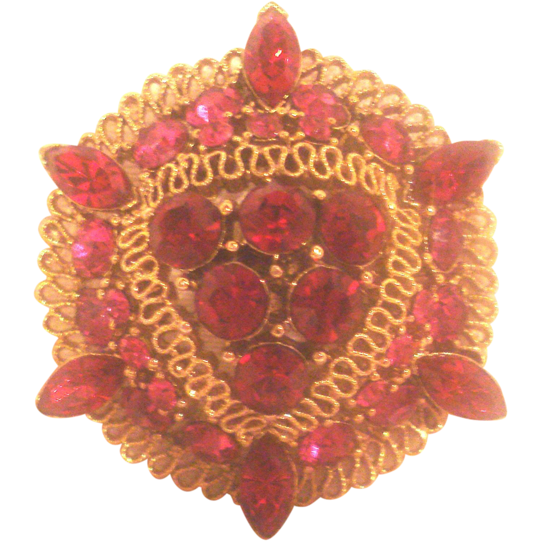 Vintage Lisner Ruby Red Pin
