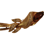 Unsigned Costume Jewelry Pin Topaz