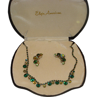 Weiss Necklace & Earring Costume Jewelry Set Original Box