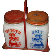 1950's Milk Glass Salt & Pepper Shakers in Original Metal Holder
