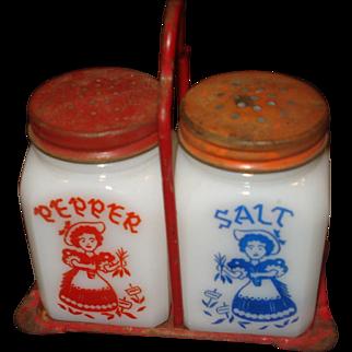 1950's Milk Glass Salt & Pepper Shakers in Original Metal Holder