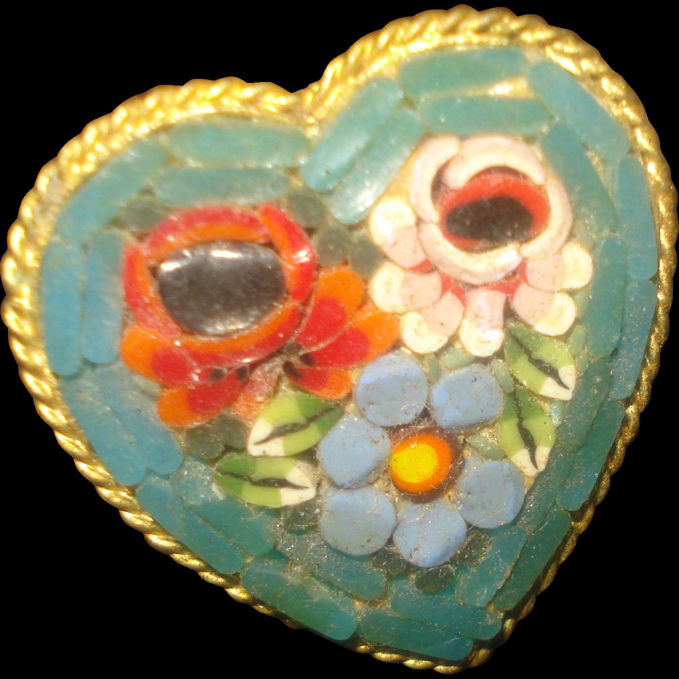 Heart Shaped Micro-Mosaic Pin
