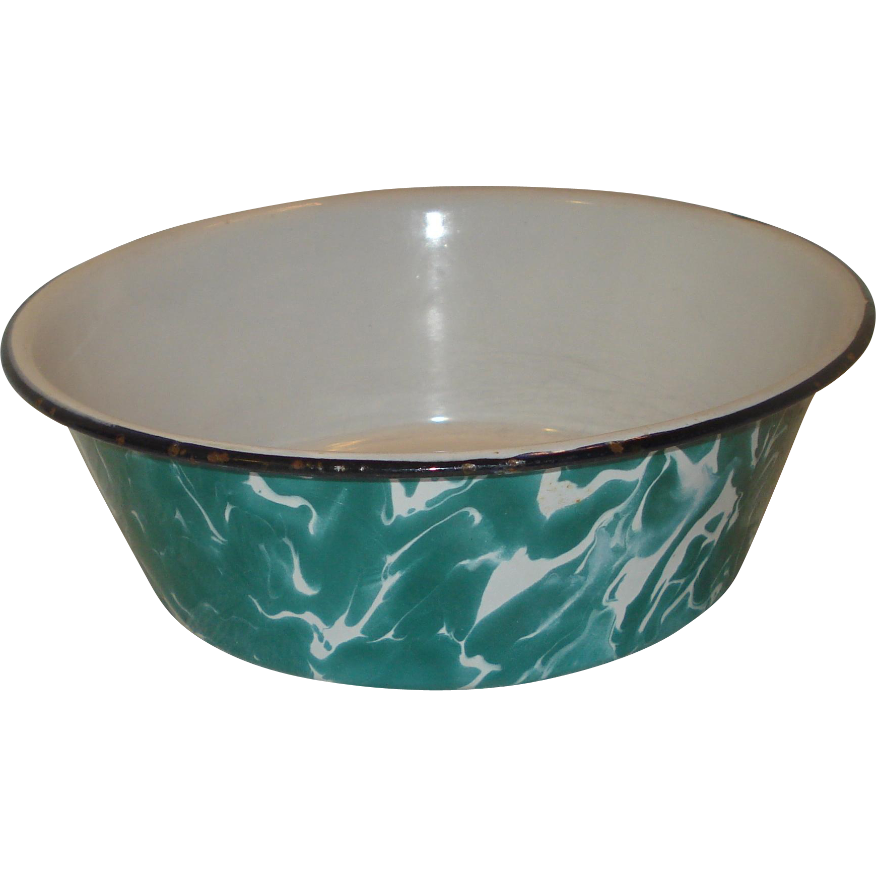 Vintage Green & White Swirl Enamelware bowl