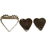 Set of Three Vintage Metal Heart Shaped Cookie Cutters