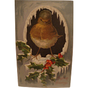 Vintage Christmas Postcard with Bird