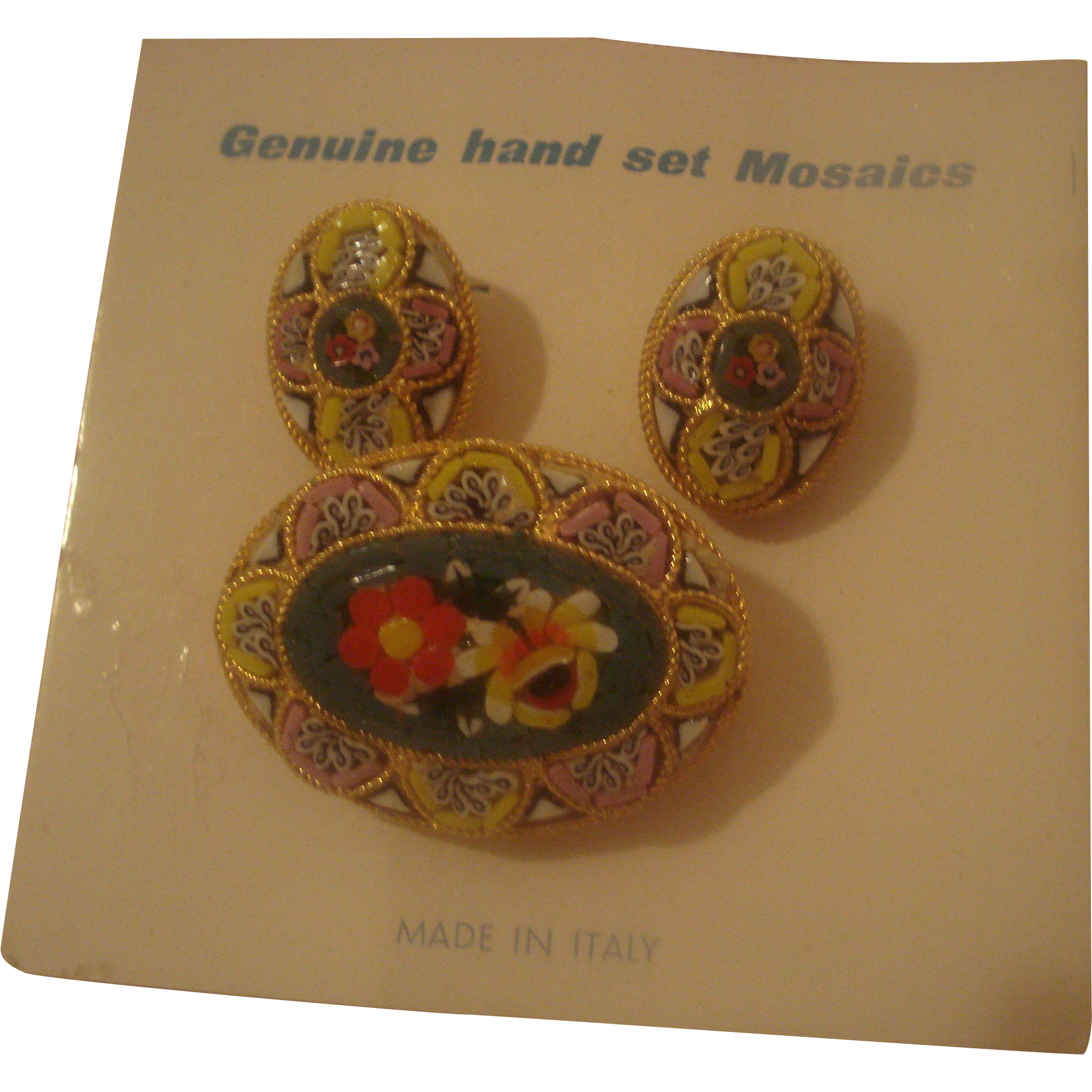 Costume Jewelry Micro-Mosaic Pin & Clip-On Earrings