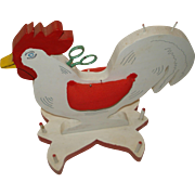 Vintage Wooden Folk Art Rooster Thread Holder